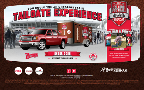 Wendy's Ultimate College Football Tailgate Experience Promotion