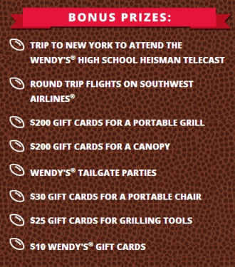 Wendy's Ultimate College Football Tailgate prizes